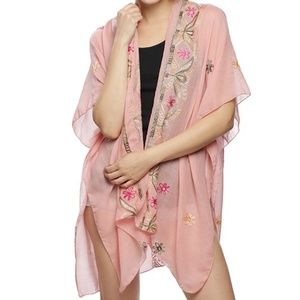 Peach Swimsuit embroidery cover up kimono